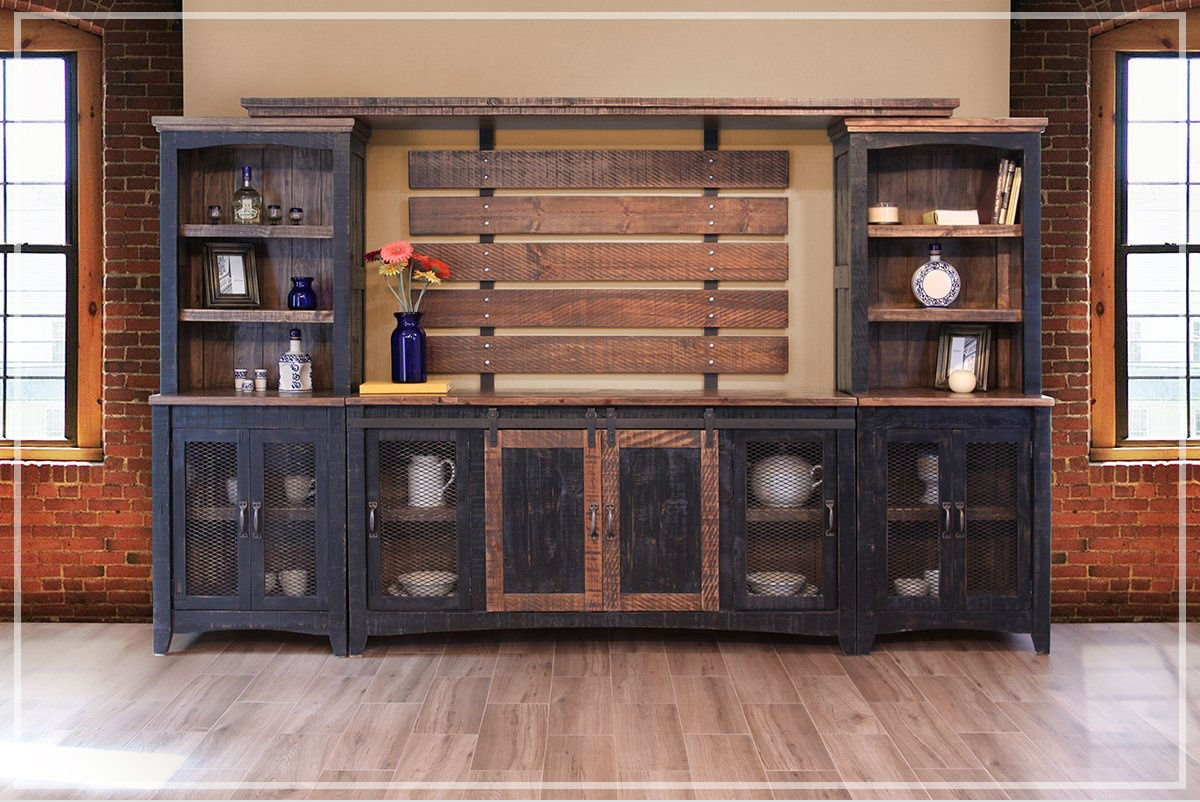 Beau Black Pine Entertainment Center